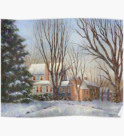 Blue House in Winter Poster