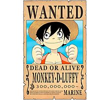One Piece - Wanted Poster - Monkey D. Luffy Photographic Print