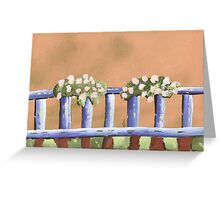 hanging blooms on a railing.  Greeting Card