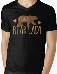 Crazy Bear lady Mens V-Neck T-Shirt