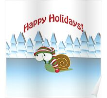 Happy Holidays! Winter Snail Poster