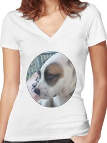 Max The Dog Women's Fitted V-Neck T-Shirt