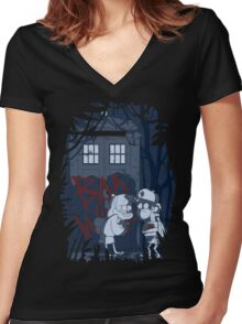 Bad wolf here? Women's Fitted V-Neck T-Shirt