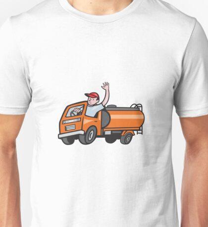 4 Wheeler Tanker Truck Driver Waving Cartoon Unisex T-Shirt