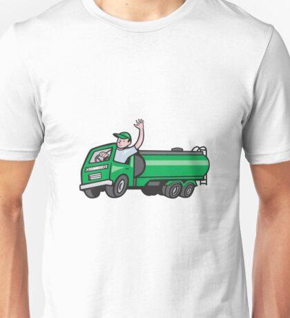 6 Wheeler Tanker Truck Driver Waving Cartoon Unisex T-Shirt