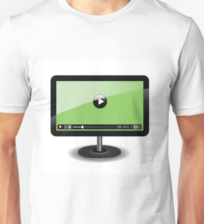 monitor with web video player Unisex T-Shirt