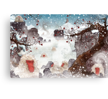 Soaking Japanese Snow Monkeys Canvas Print