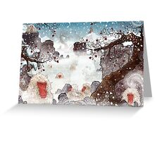 Soaking Japanese Snow Monkeys Greeting Card