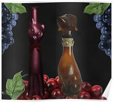 CAT AND DOG WINE BOTTLES PICTURE --POSTER--PRINTS ECT. Poster