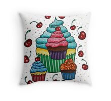 Sprinkles of Color - Acrylics on Mixed Media Paper Throw Pillow