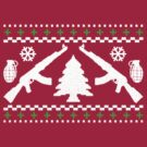 Funny AK47 Ugly Holiday Sweater by robotface