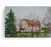 Barn Lithograph Canvas Print