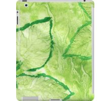 Green Painted Texture with Leaves iPad Case/Skin