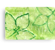 Green Painted Texture with Leaves Metal Print
