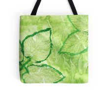 Green Painted Texture with Leaves Tote Bag