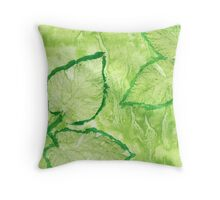 Green Painted Texture with Leaves Throw Pillow