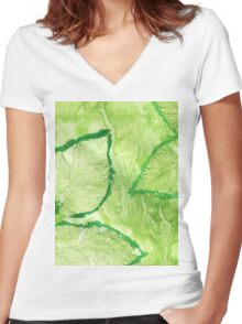 Green Painted Texture with Leaves Women's Fitted V-Neck T-Shirt