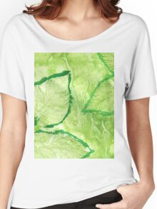 Green Painted Texture with Leaves Women's Relaxed Fit T-Shirt