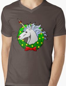 Christmas Unicorn Mens V-Neck T-Shirt