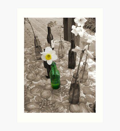Bottles of Daffodils Art Print