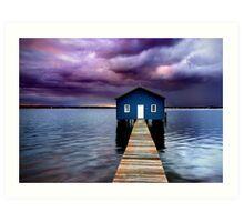 Blue Boathouse 2 Art Print