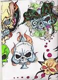 collage of skulls by wickeddezignz