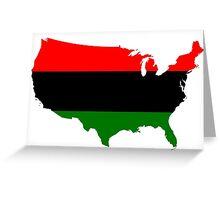 Pan-Afrcian Flag Map of USA  Greeting Card