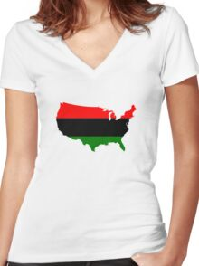 Pan-Afrcian Flag Map of USA  Women's Fitted V-Neck T-Shirt