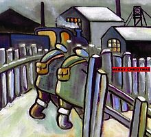 Merry christmas card winter coal mining scene (from my original acrylic painting) by sword