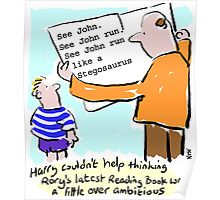 Cartoon - child and reading-book. Poster