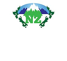 simple New Zealand with Maori stylised kiwi map and mountains  Photographic Print