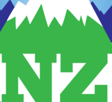 simple New Zealand with Maori stylised kiwi map and mountains  Sticker