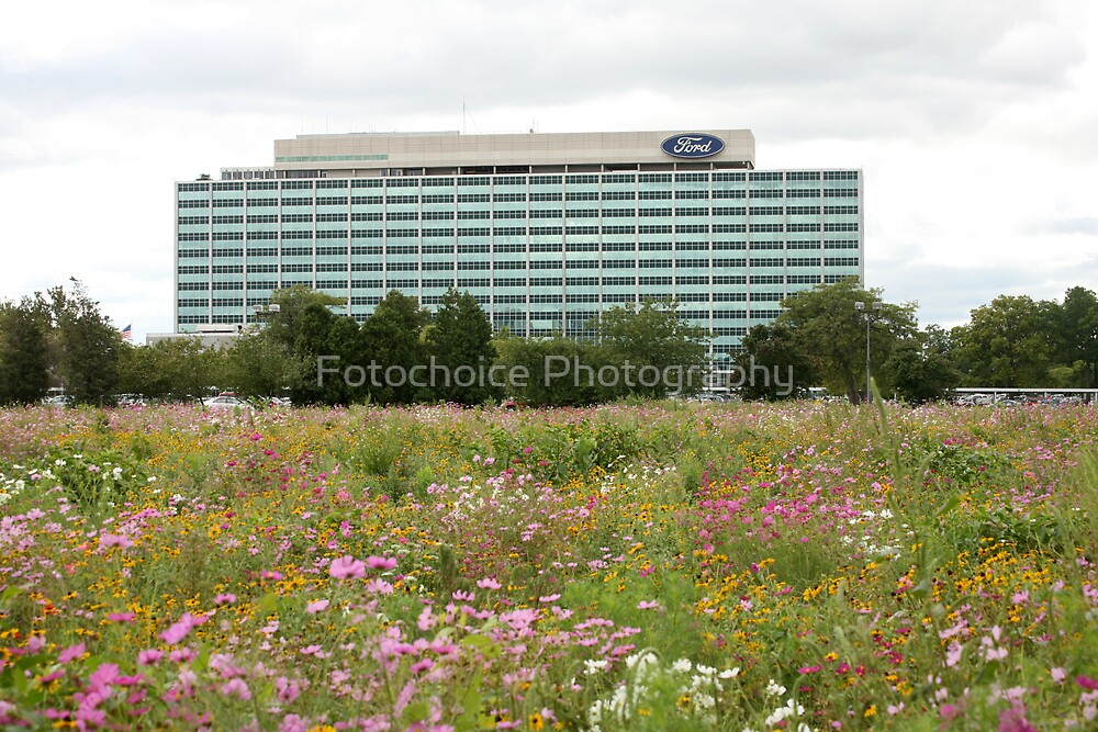 Ford WHQ with the flower garden in the foreground by Fotochoice Photography