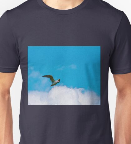 Flying seagull, clouds on the sky Unisex T-Shirt