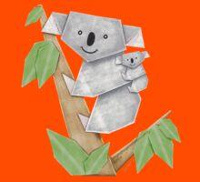 Cuddly Koala with cute Baby Origami Kids Tee