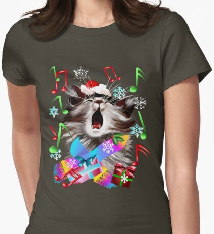 Christmas Carol Singing Kitty Womens Fitted T-Shirt