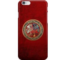 Celtic Treasures - Three Dogs on Gold and Red Velvet iPhone Case/Skin