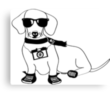 Hipster Dachshund - Cute Dog Cartoon Character - Sausage Dog - Weiner Dog Canvas Print