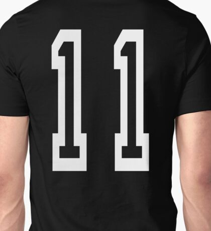 11, TEAM SPORTS, NUMBER 11, Eleven, Eleventh, Competition, white on black Unisex T-Shirt