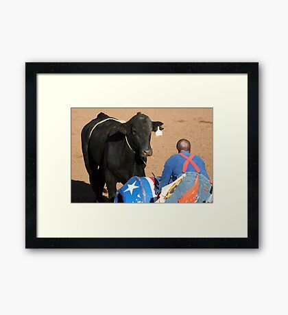 Rodeo Clown Stare Down Framed Print