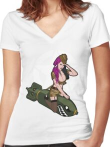 Army Punk Pin Up Women's Fitted V-Neck T-Shirt
