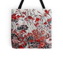 Woodcut Flowers in Red Tote Bag