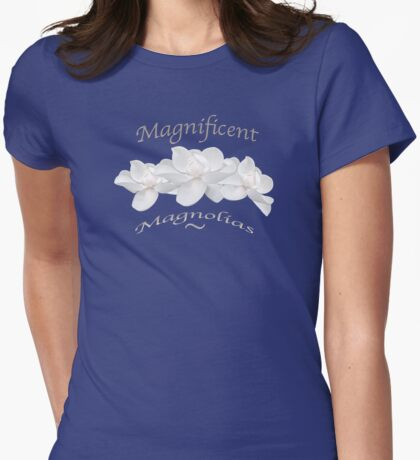 Magnificent Magnolias Floral Motif Womens Fitted T-Shirt