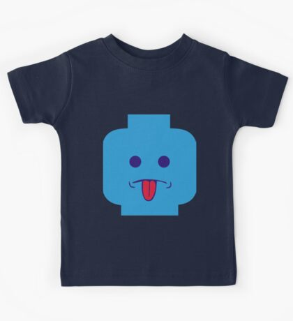 Rude Minifig Face Sticking Tongue Out Kids Tee
