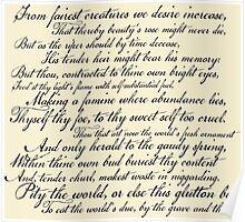 Shakespeare Sonnet No 1 Poster