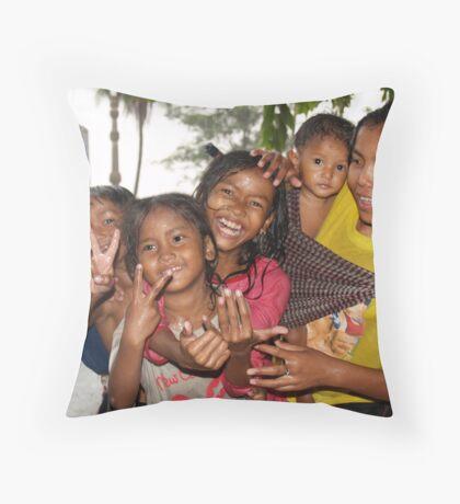 Cambodian Kids Throw Pillow