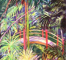 Japanese Bridge Tamborine Mountain Botanical Gardens[ pastel painting] by Virginia McGowan