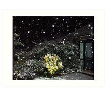 falling snow flake hearts Art Print