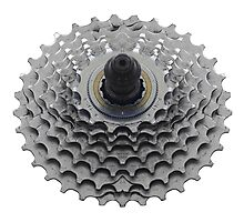 Bike Sprocket on White Photographic Print