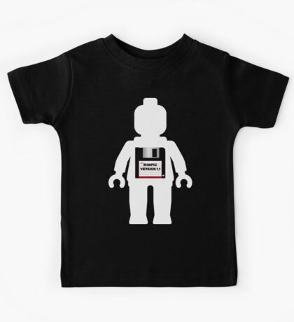 "White Minifig with ""MINIFIG VERSION 1.1"" Kids Tee"